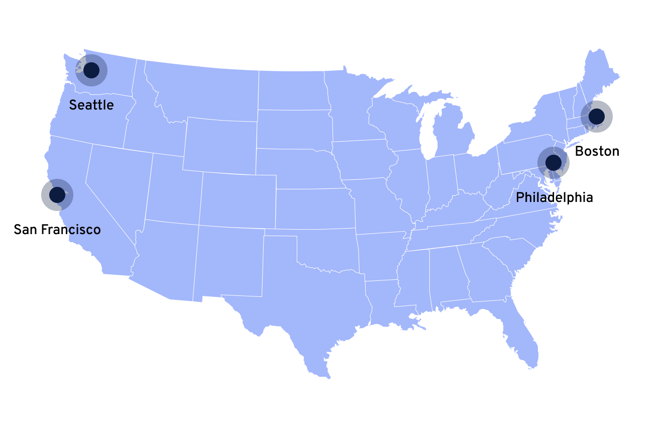 United states map showing where teammates are based