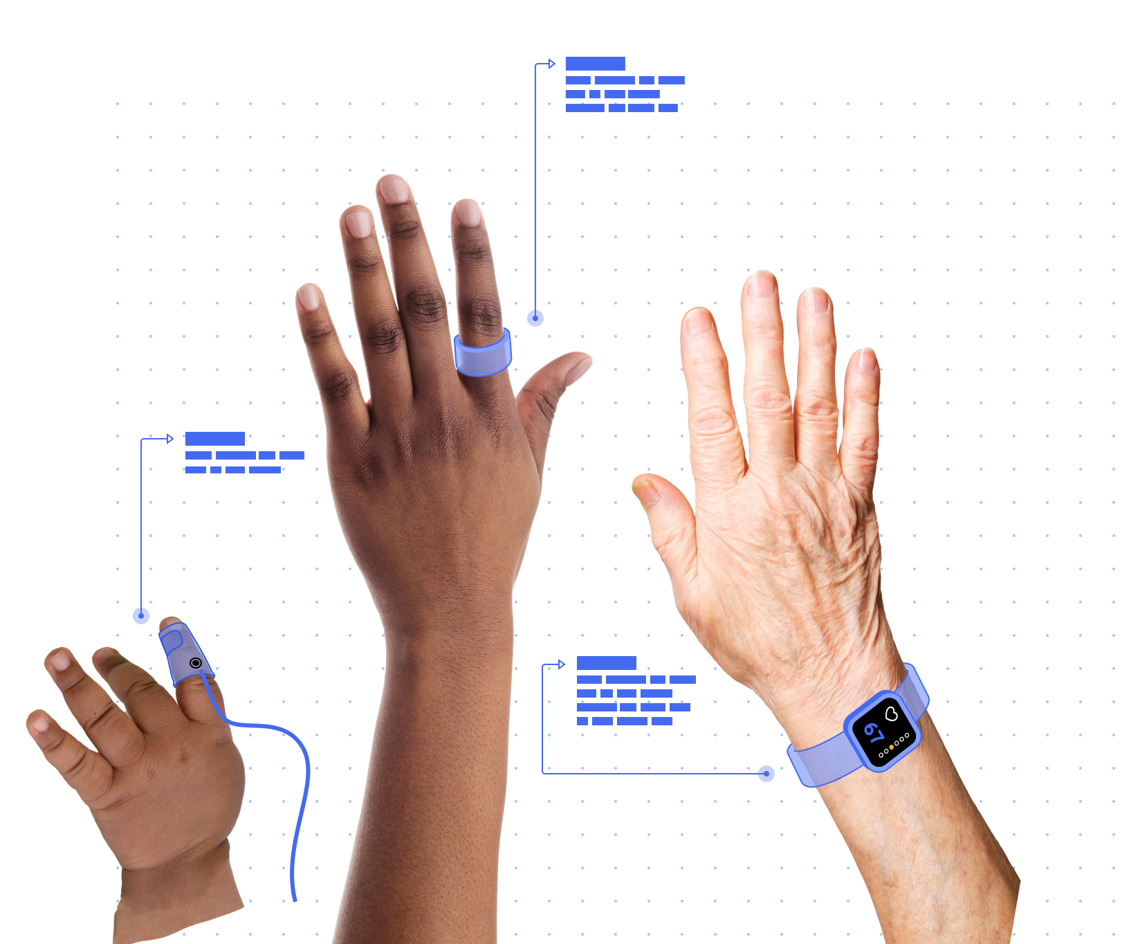 Three hands with connected sensors connected.