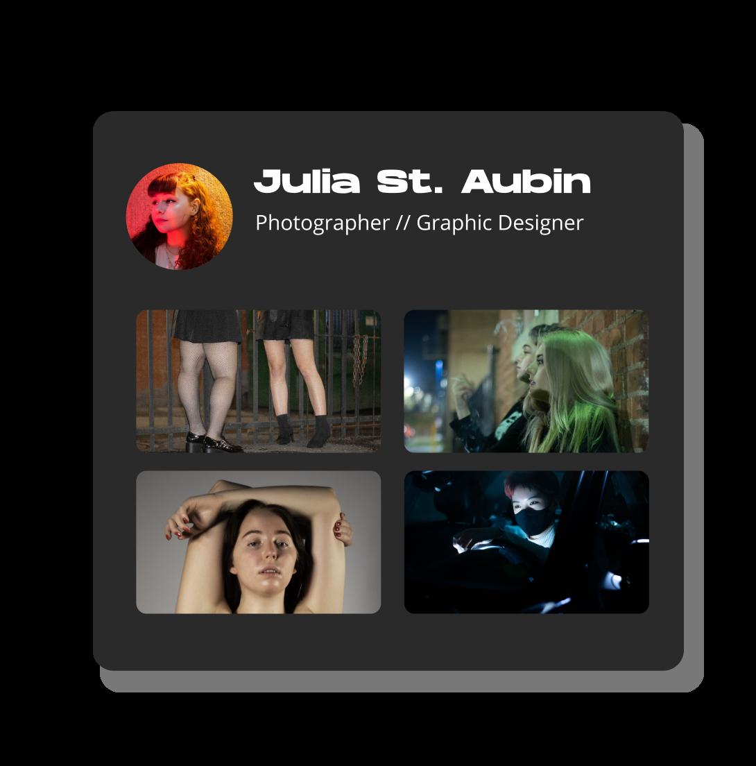 Julia St. Aubin's photography and graphic design portfolio.