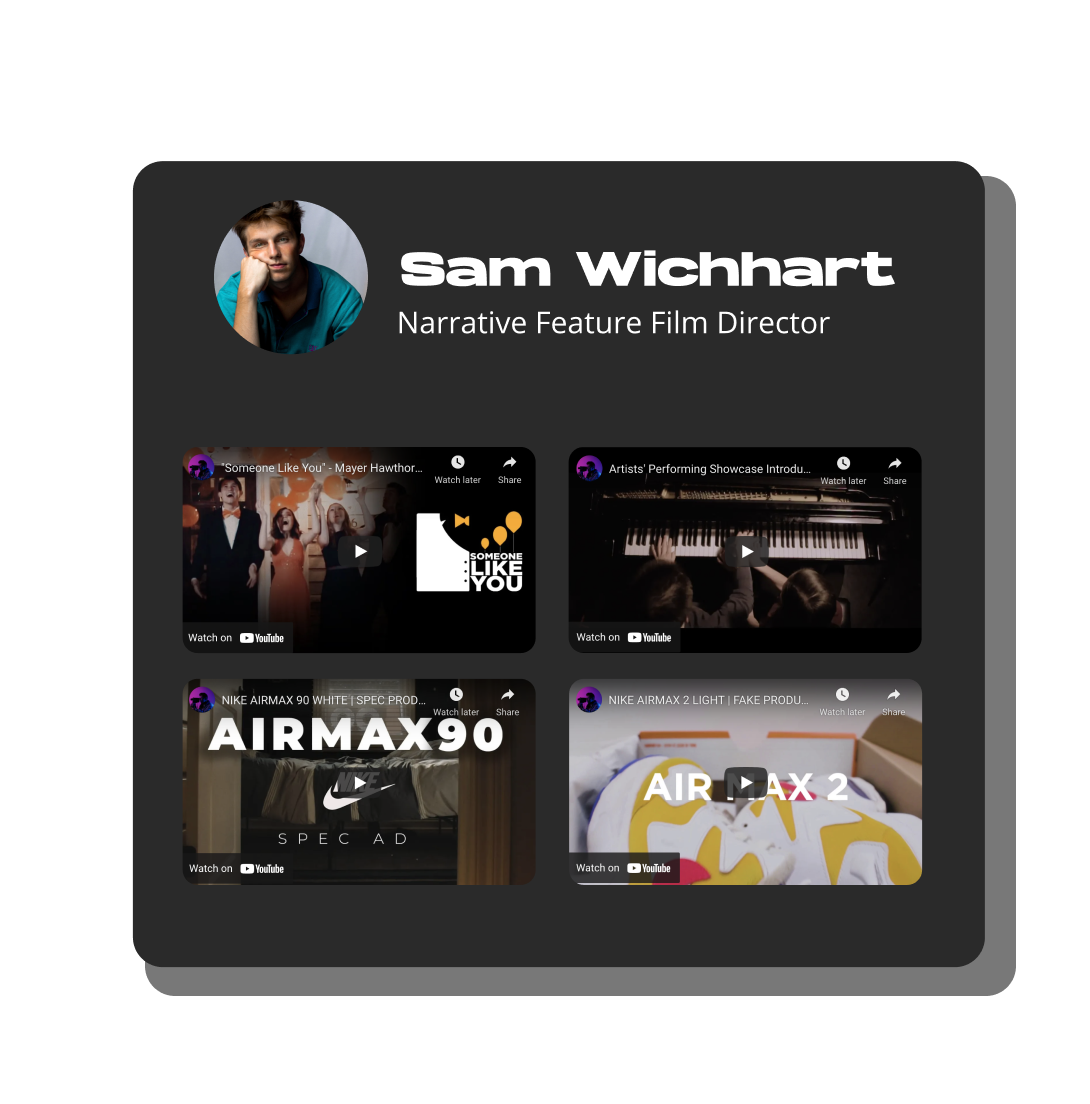 Sam Wichhart's film and videography portfolio, with short films, ad spots and tutorials.