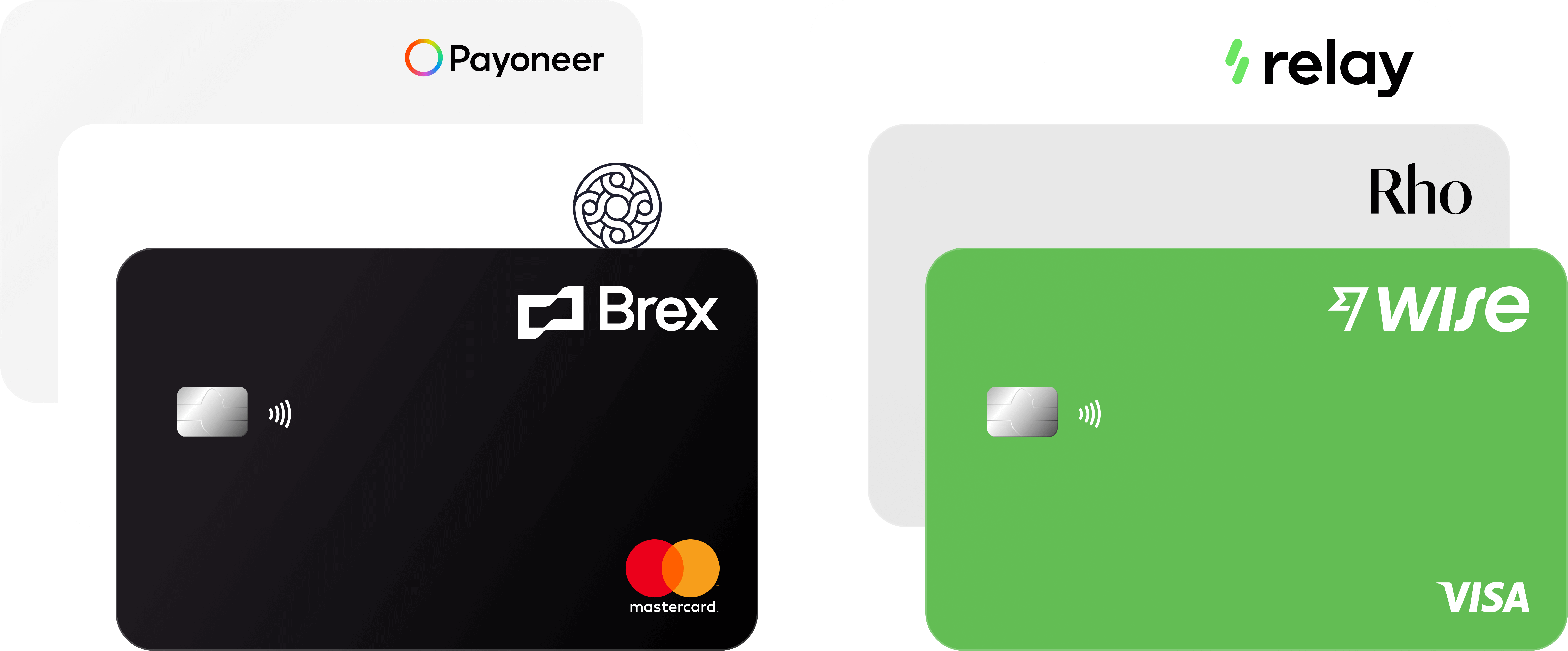 Photo showing debit cards from Brex, Mercury, Payoneer, Relay, RHO, and Wise.