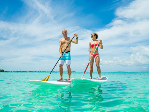 stand up paddleboarding on a sunny day