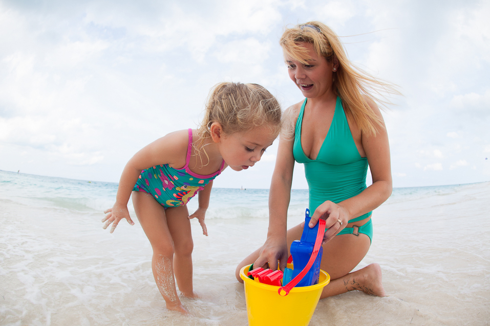 Playing on Grace Bay Beach