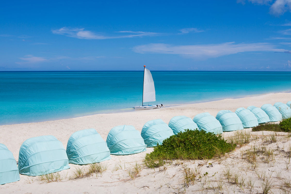 Beach pods keep you cool and relaxed on Grace Bay.