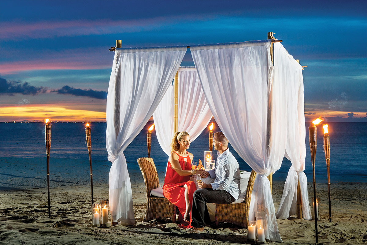 Dinner under the stars on Grace Bay beach at The Palms