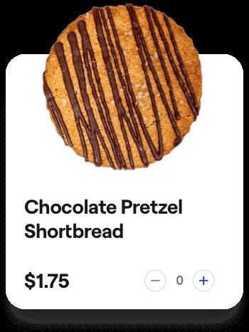 chocolate pretzel shortbread card