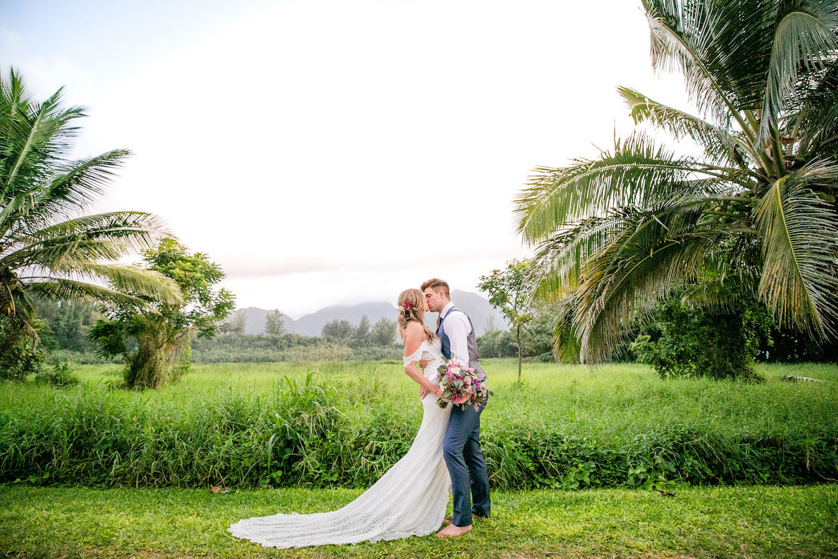 Newlywed couple photographed in Kauai.