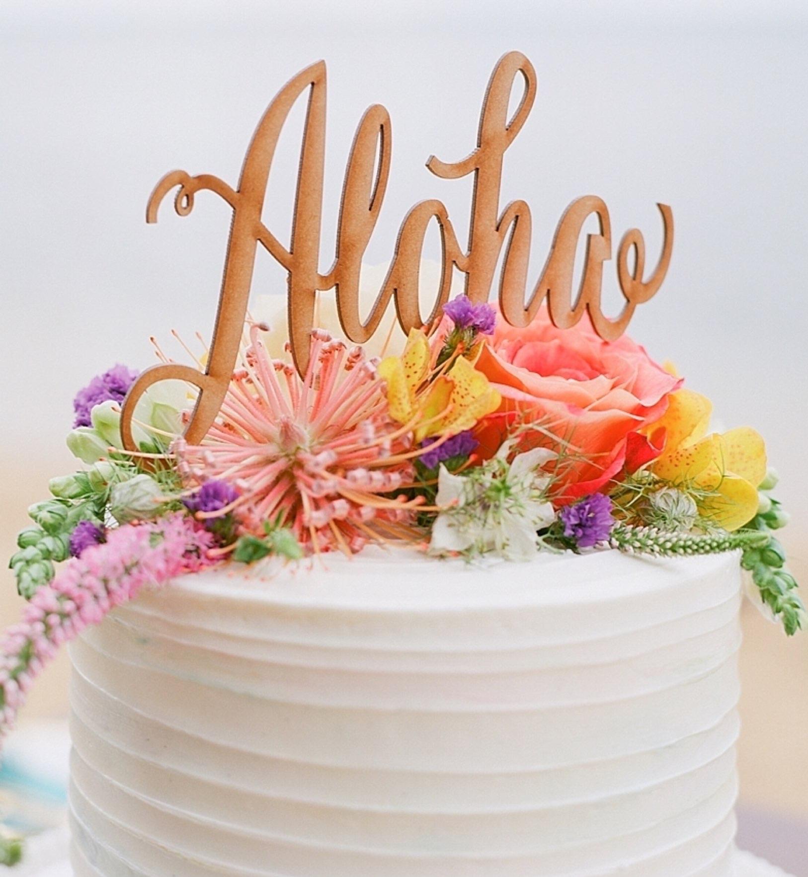 Cake on the beach in Kauai.