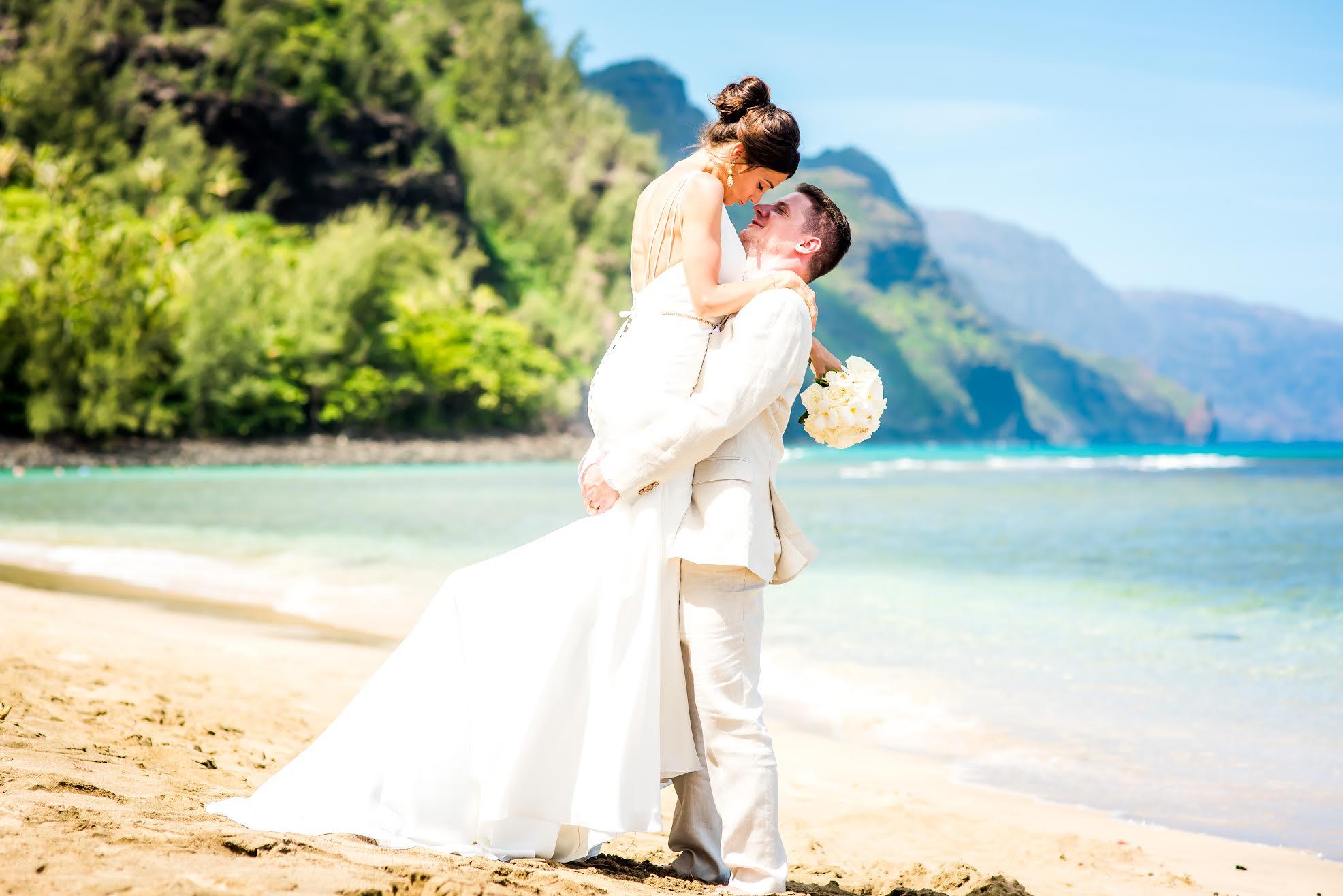 Mike and Katherine on the beach in Kauai.