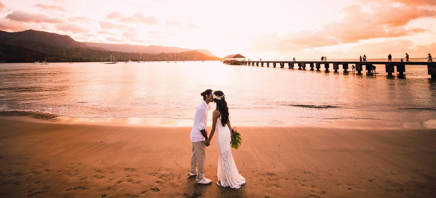 Hanalei Bay Pier elopement.