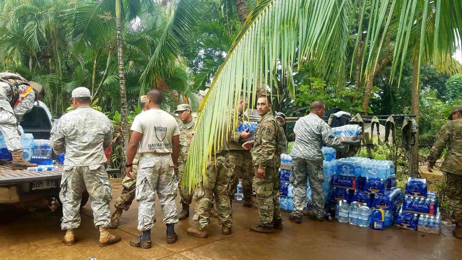Military aid for the Kauai flood.