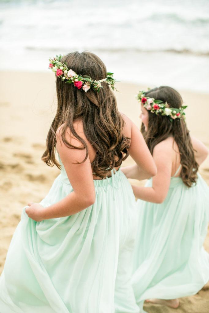 Children on the beach in Kauai for a wedding.