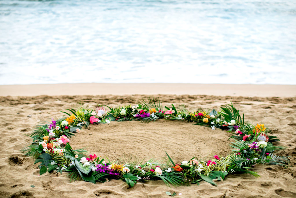 Flower circle on the beach in Hawai.