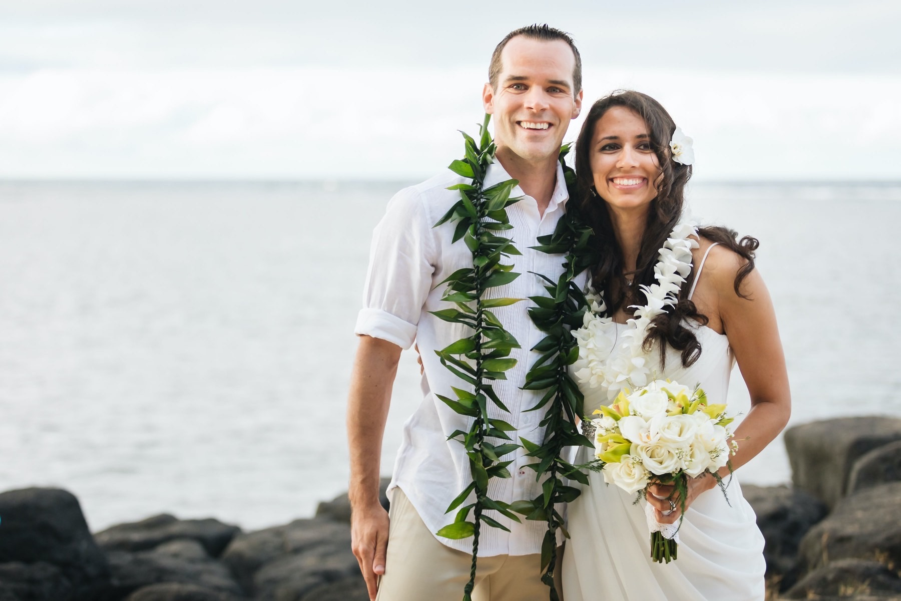 Husband and wife after wedding on the beach.