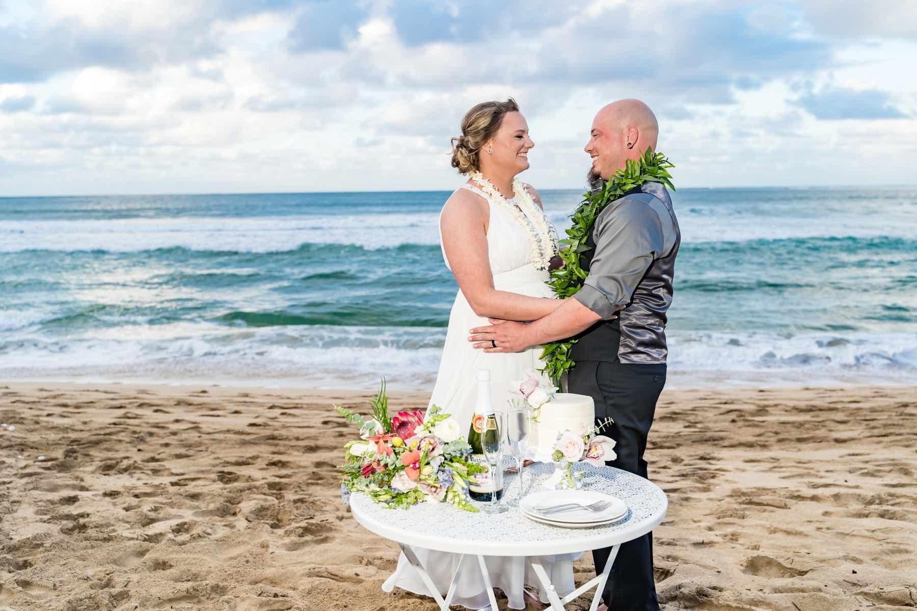 Sherice and Gary on their wedding day in Kauai.