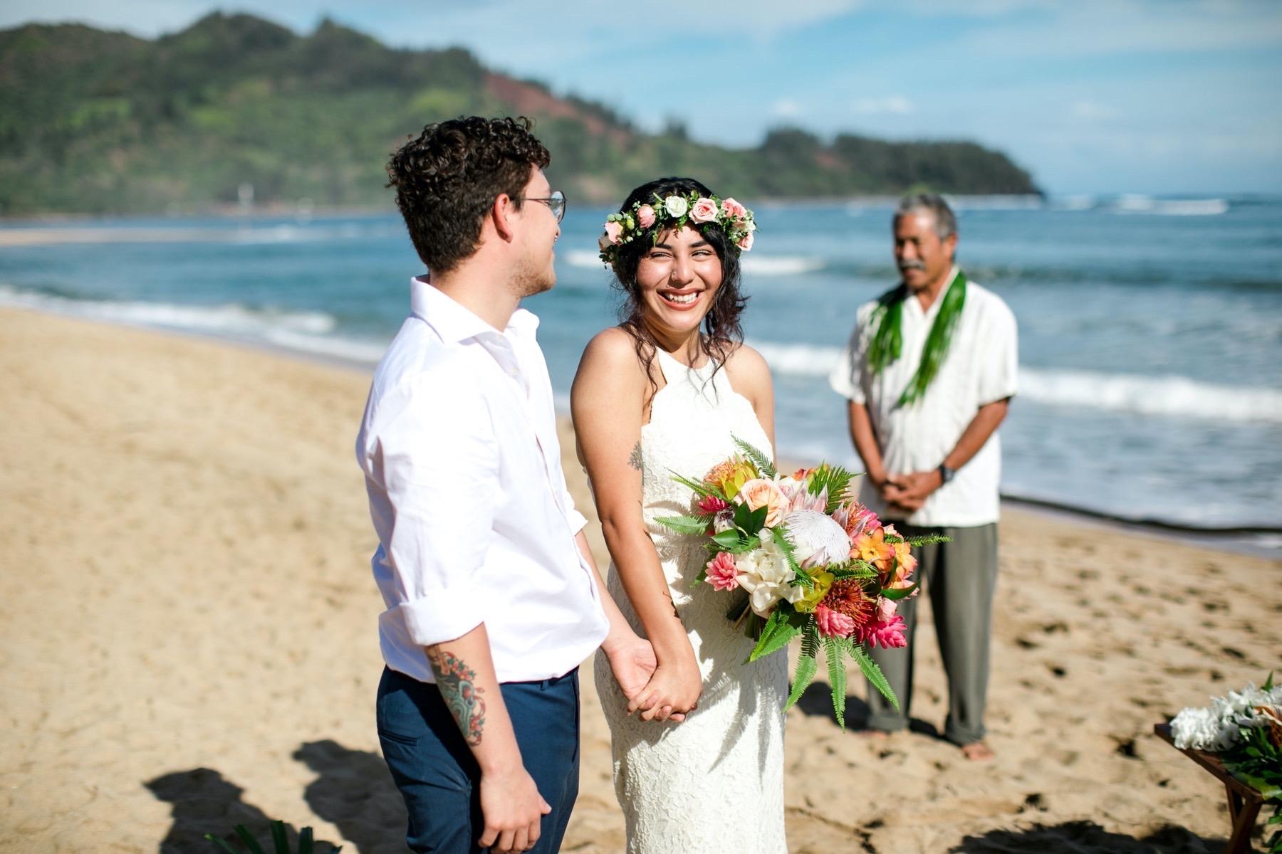 Maya & Gilberto on the beach for their wedding.