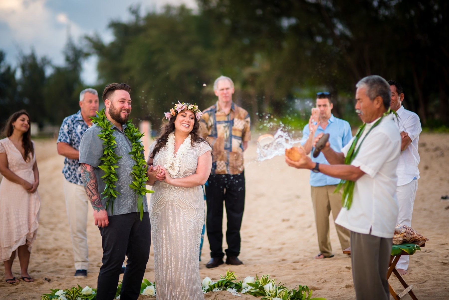 Alexis & Derek and family at their wedding in Hawaii.