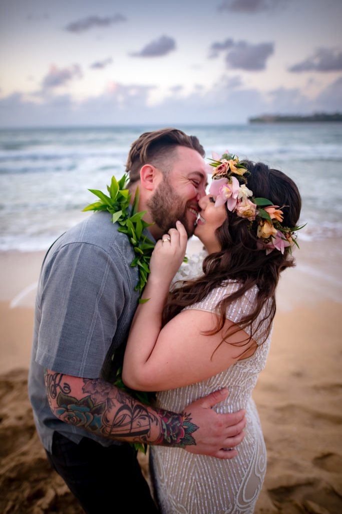 Bride and Groom getting married in Hawaii.