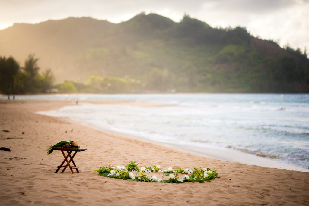 Flower circle on the beach in Hawaii.