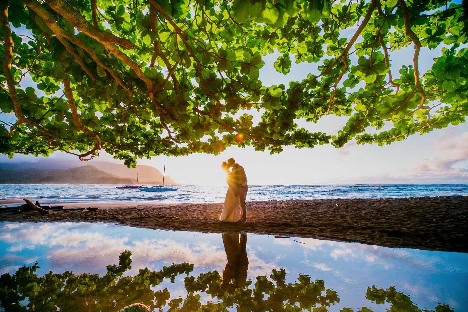 Jessica & Ryan on the beach in Kauai.
