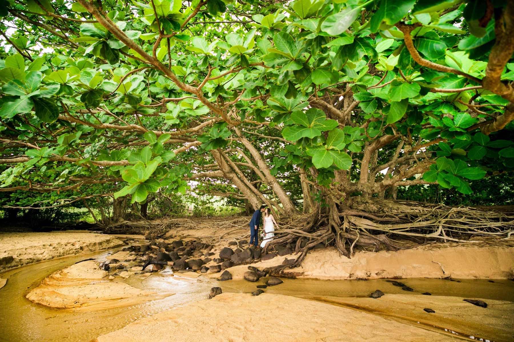 Gerlie & Joeygene under a tree on the beach in Kauai.