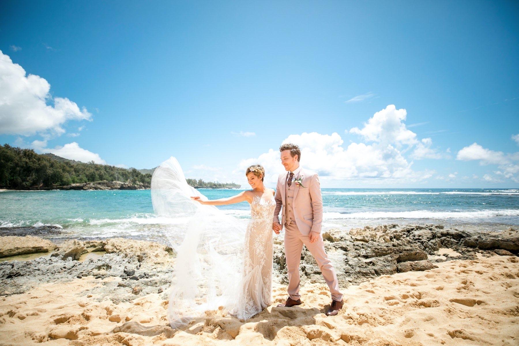 Sylvia & Shane on the beach in Hawaii.
