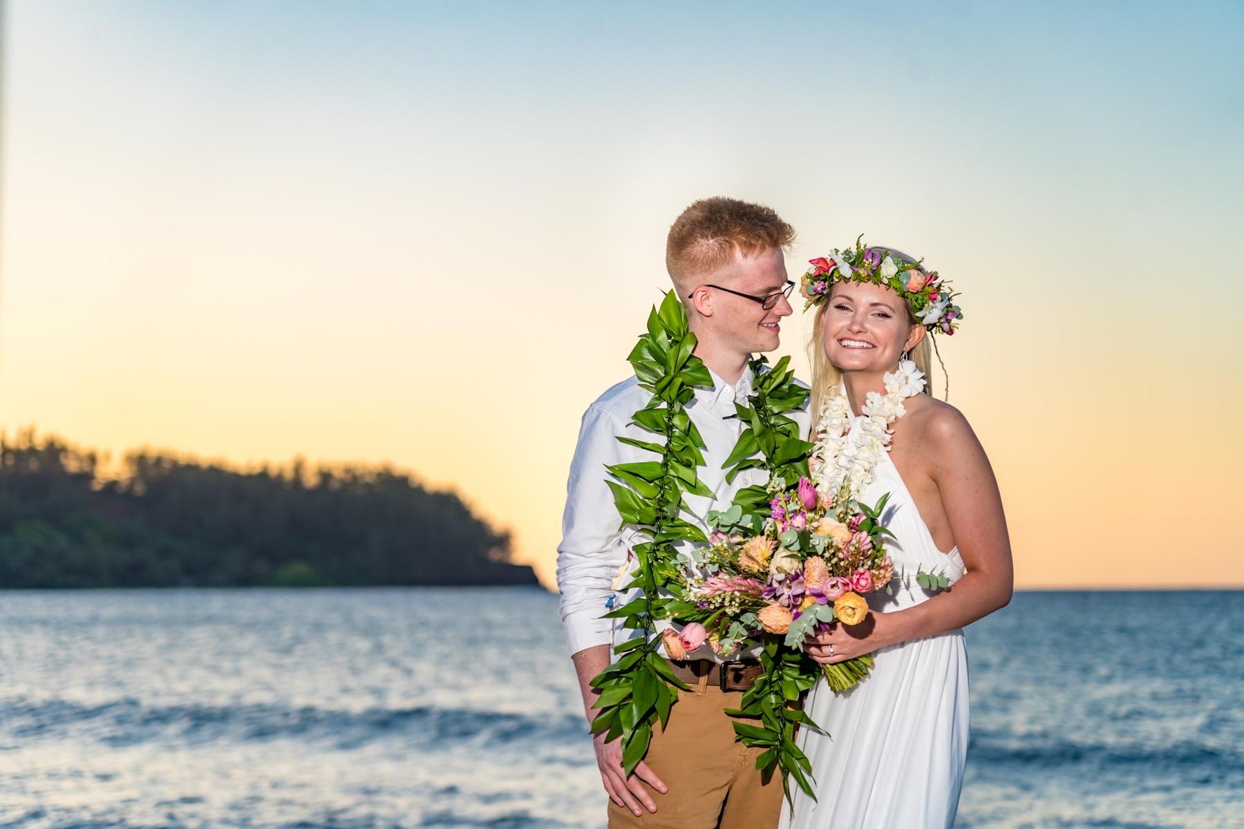 Ashley & Jonathan on the beach in Kauai.