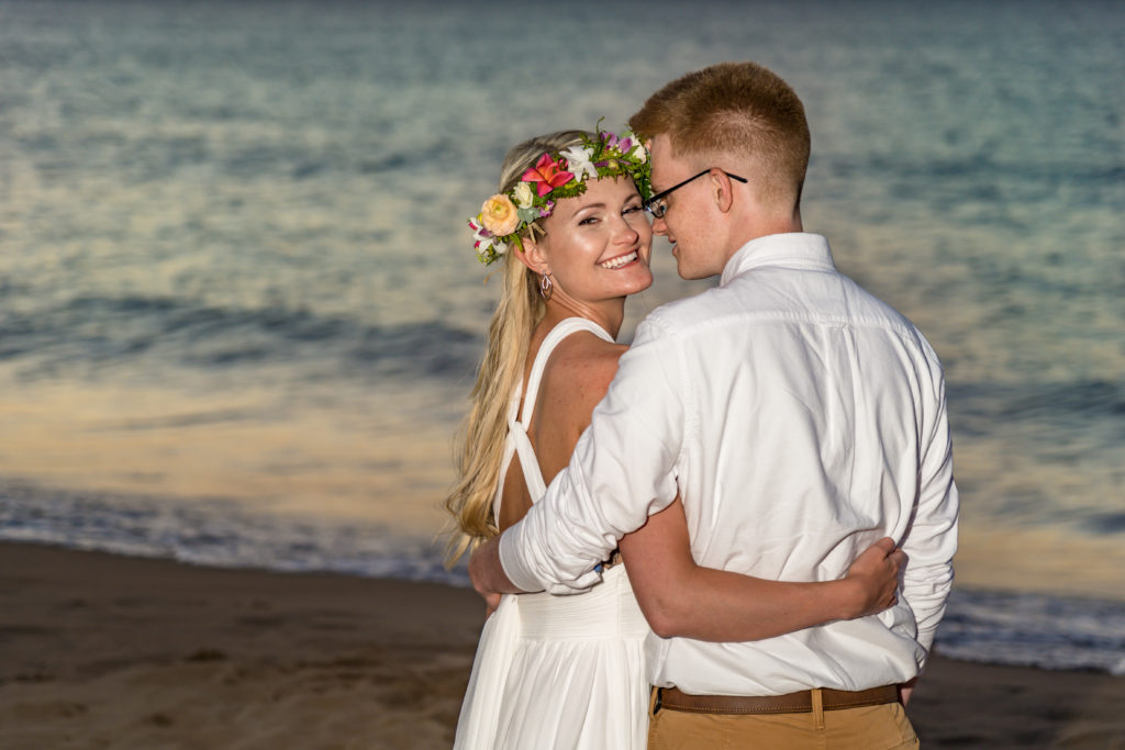 Couple eloping on the beach.
