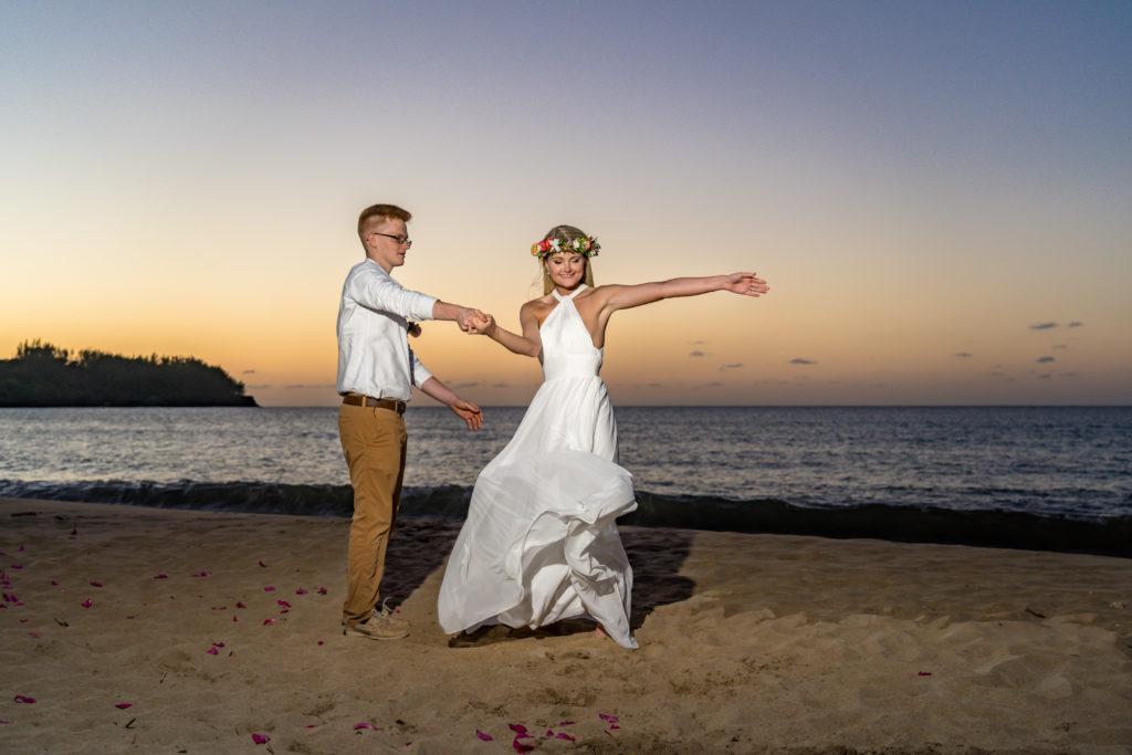 Dancing on the beach in Kauai.