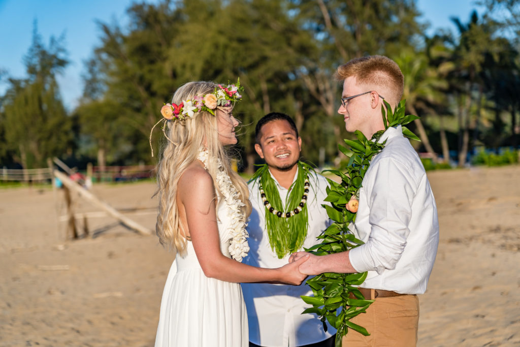 Wedding on the beach in Hawaii.