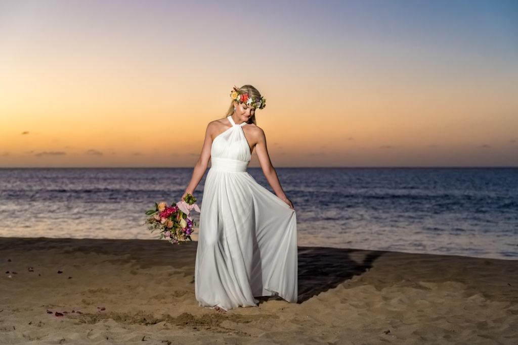 Bride on the beach on Kauai.