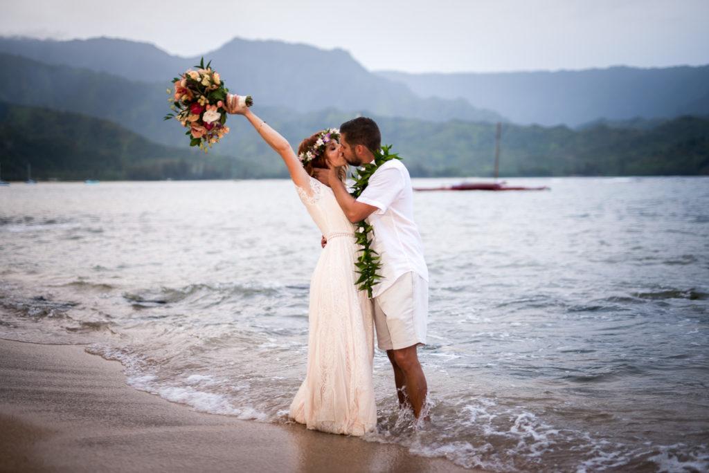 Married on the beach on Kauai.