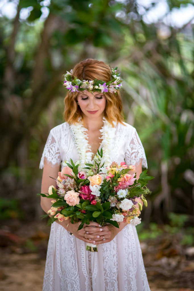 Bride on the beach in Kauai.