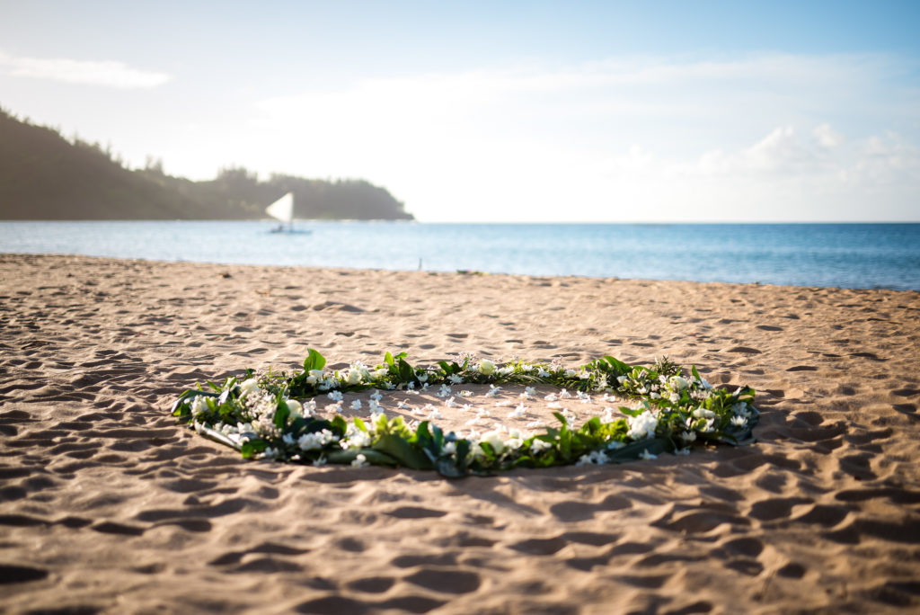 Flower circle on the beach.