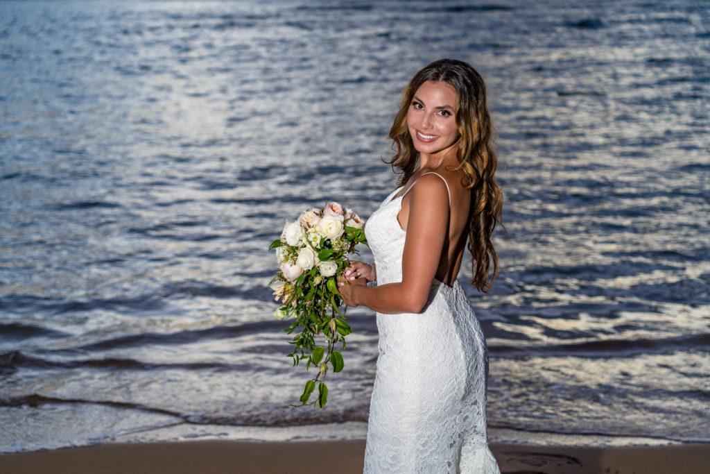 Bride on the beach.