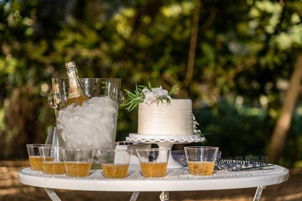 Wedding cake on the beach.