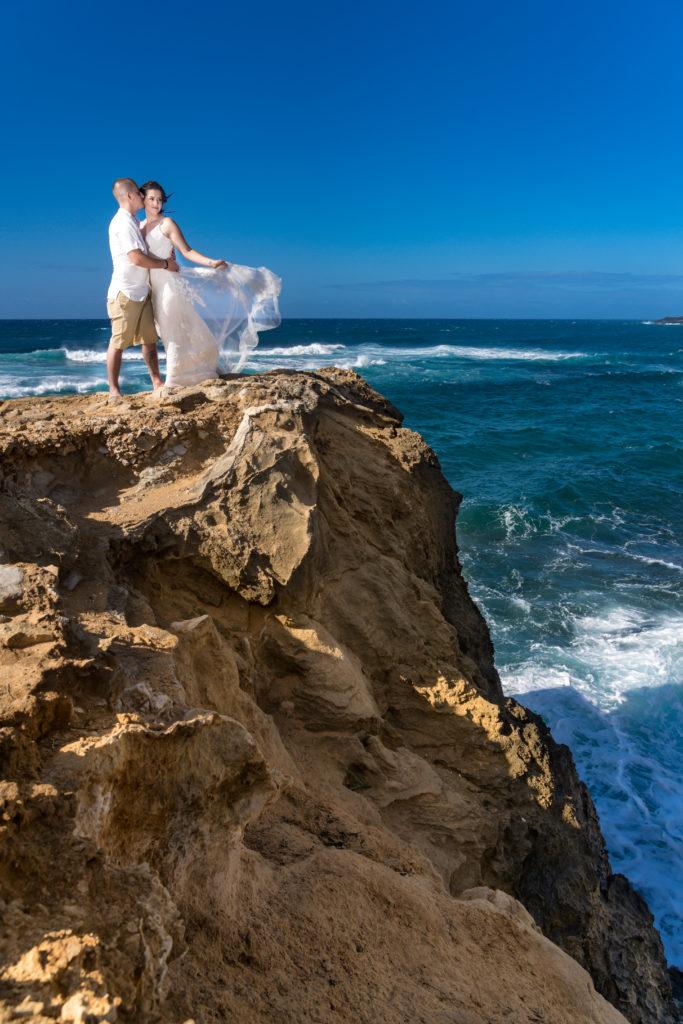 Bride and groom in Kauai.