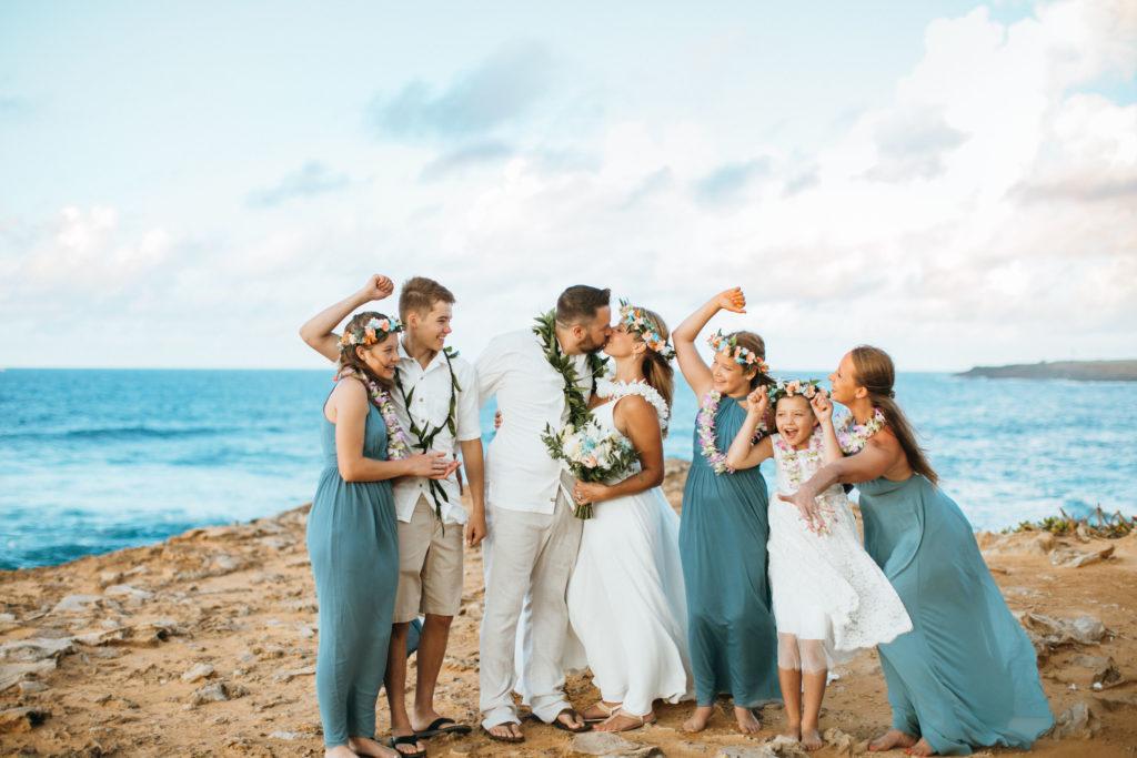 Getting married on the beach in Kauai.