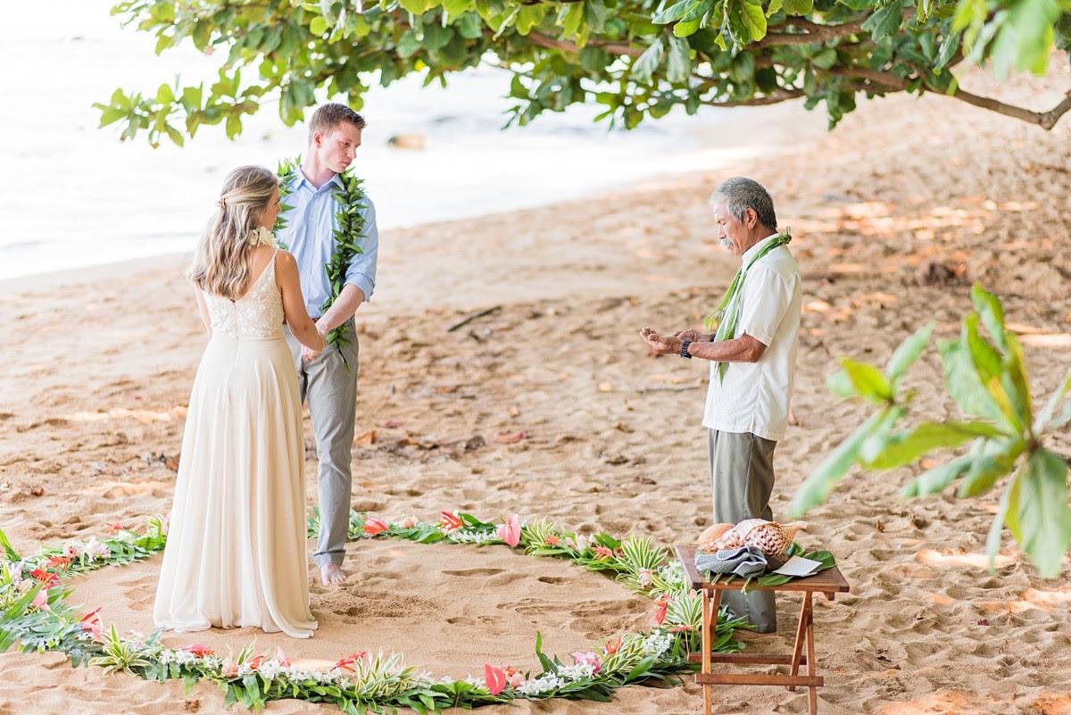 Monte & Renee getting married on the beach in Hawaii.