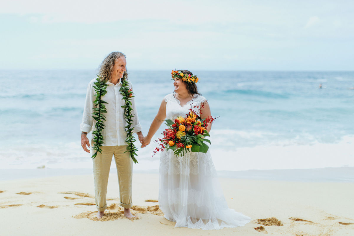 Donna & James getting married on the beach in Kauai.