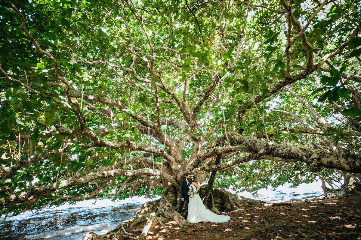 Eileen & Patrick under a tree.