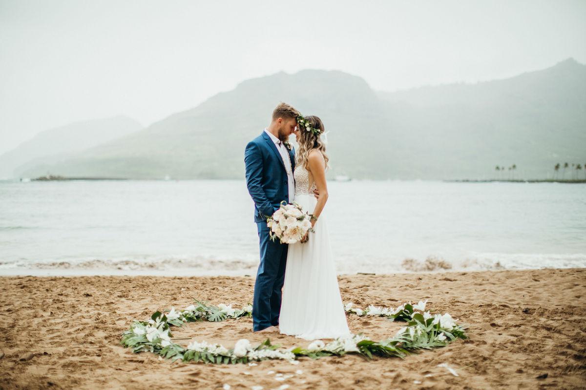 Abbie & Mitch on the beach in Kauai.