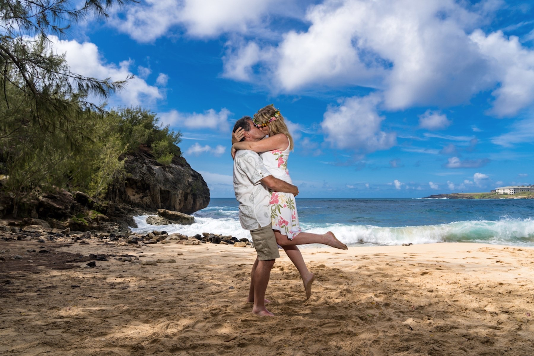 Paula & Eric on the beach in Hawaii.