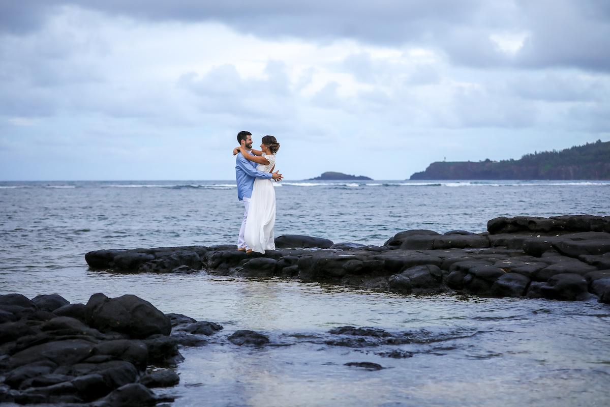 Blake & Andra on the beach in Kauai.