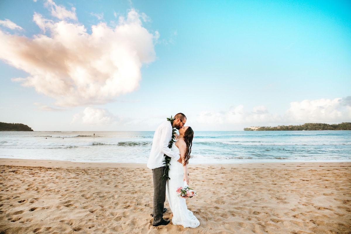 Pam & Eric on the beach in Kauai.