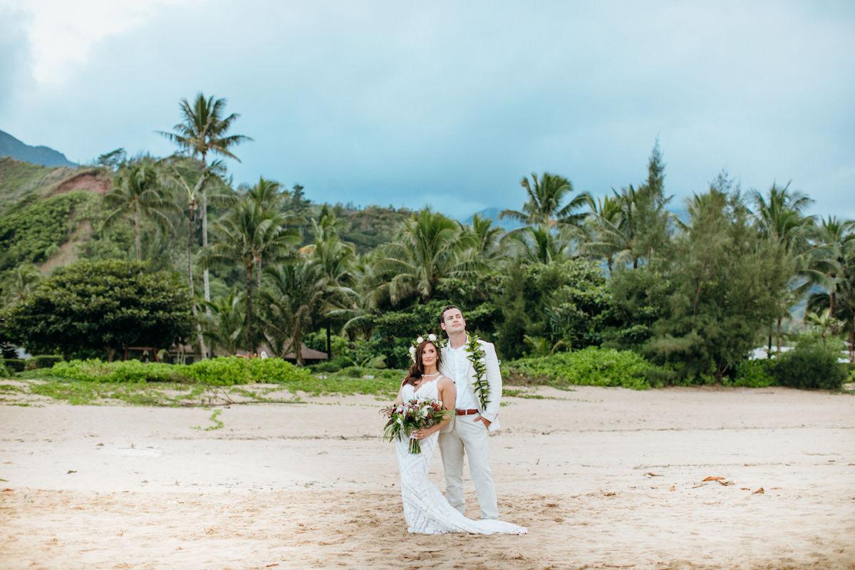 Jordan and Tyler on the beach in Kauai.