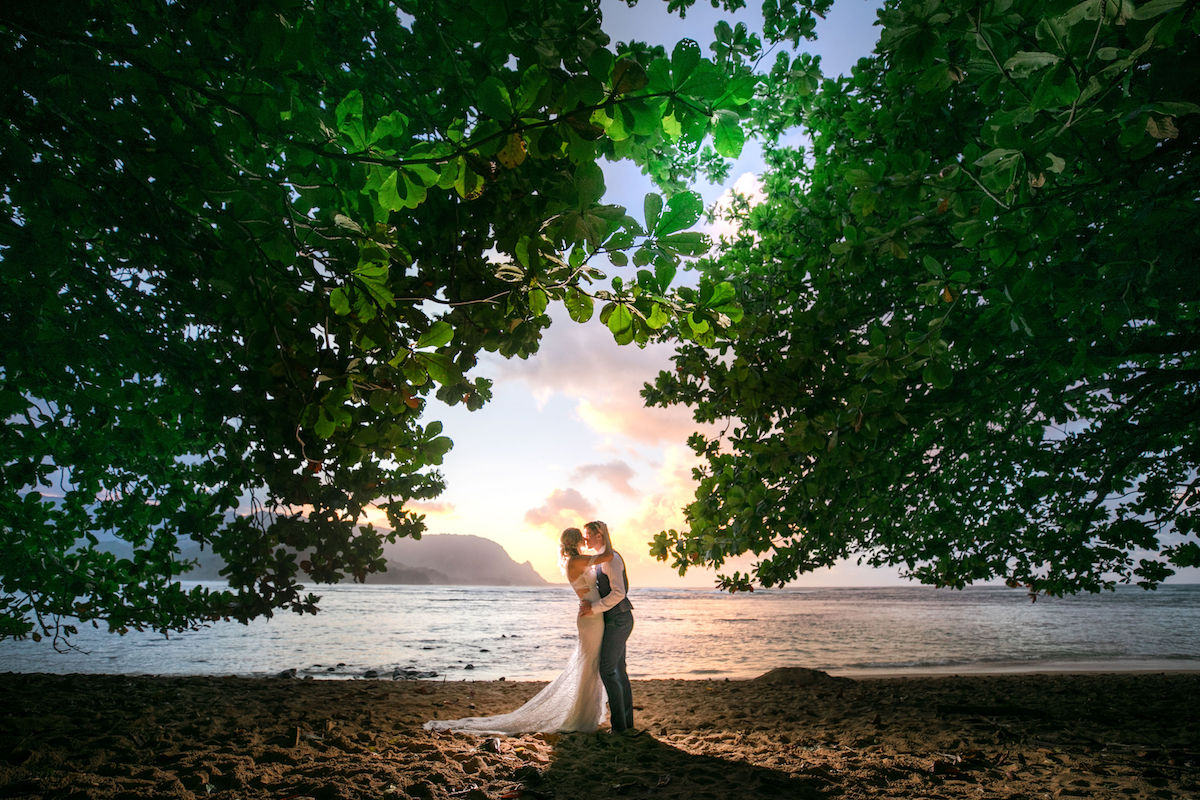 Sarah & Sean on the beach in Kauai.