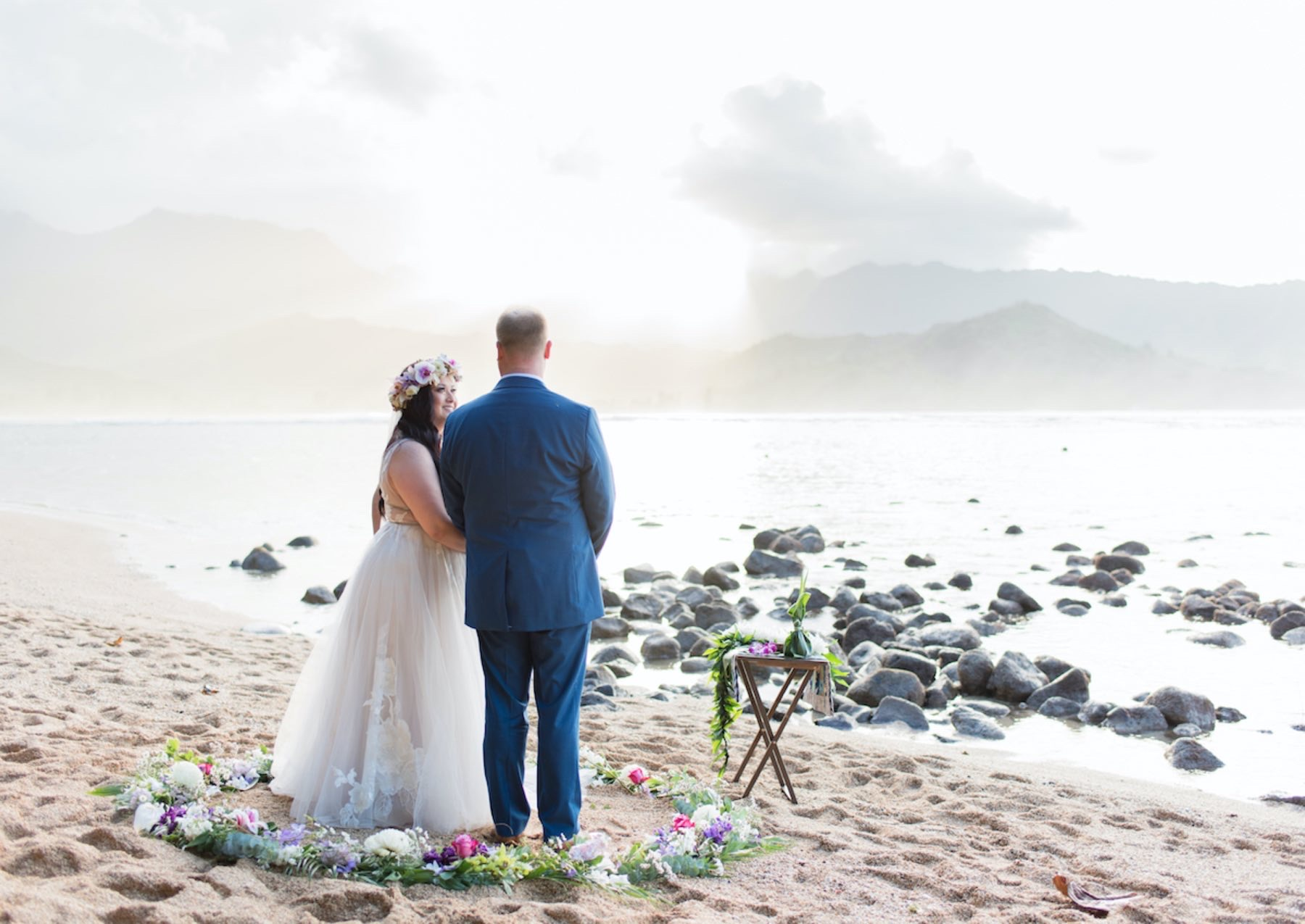 Molly & Chris eloping on the beach.