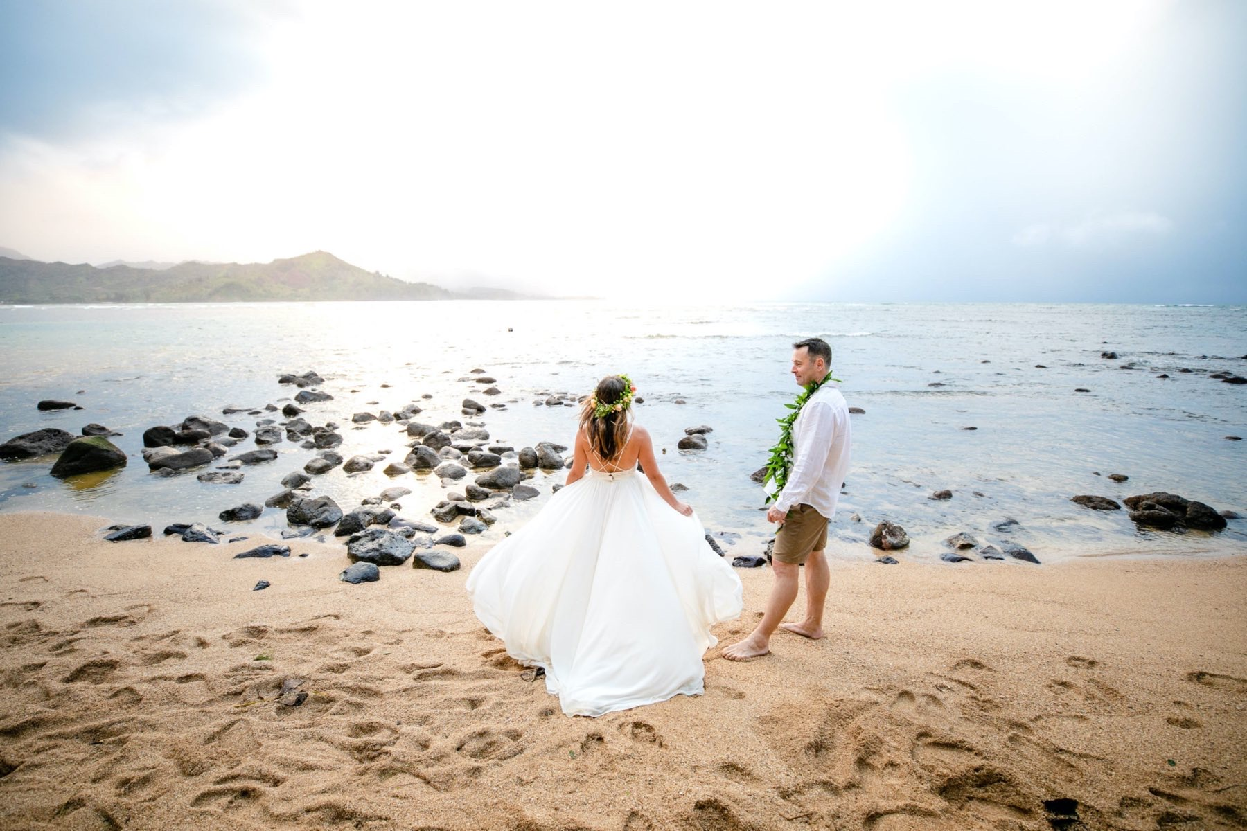 Alicia & Jake on the beach in Kauai.