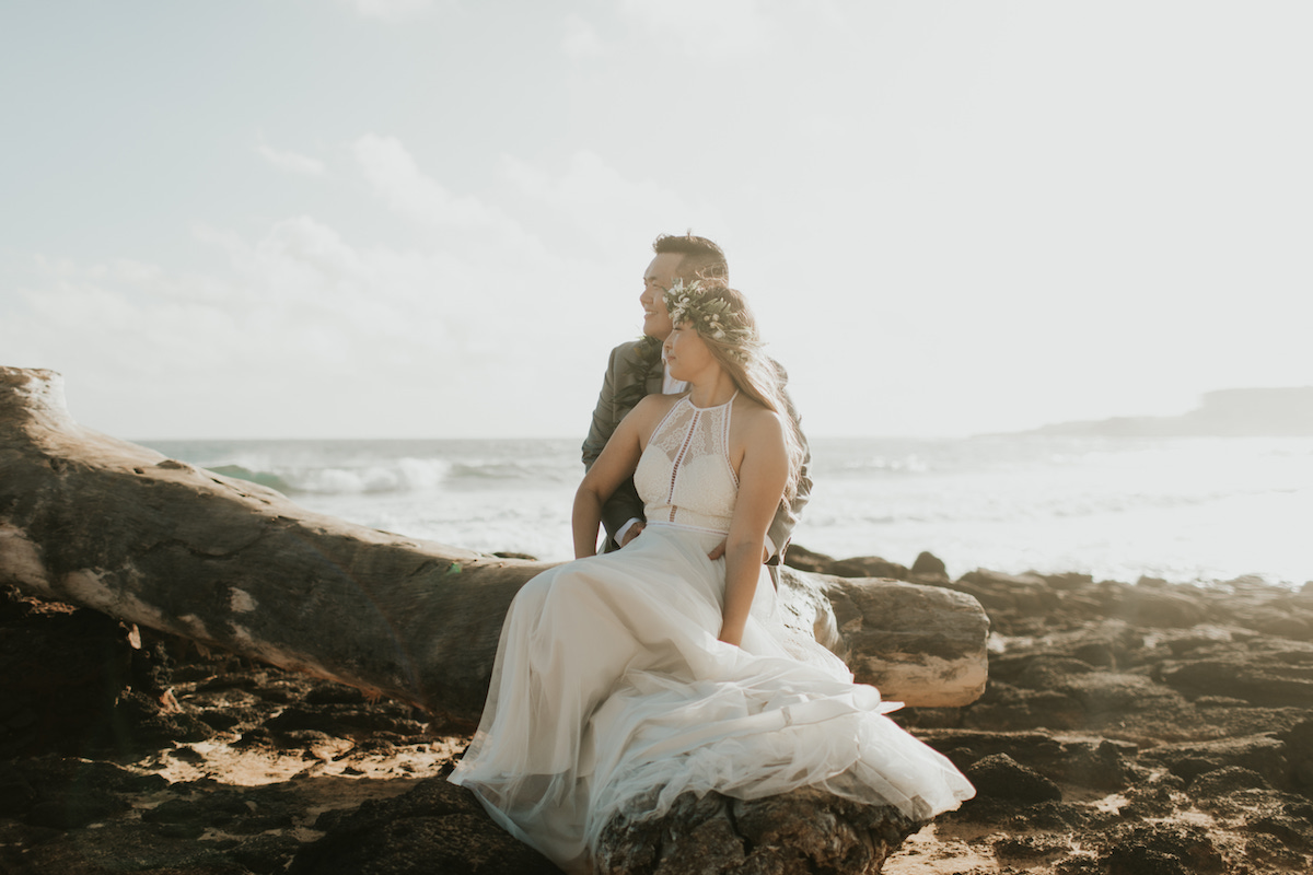 Caroline & Daniel on the beach in Kauai.